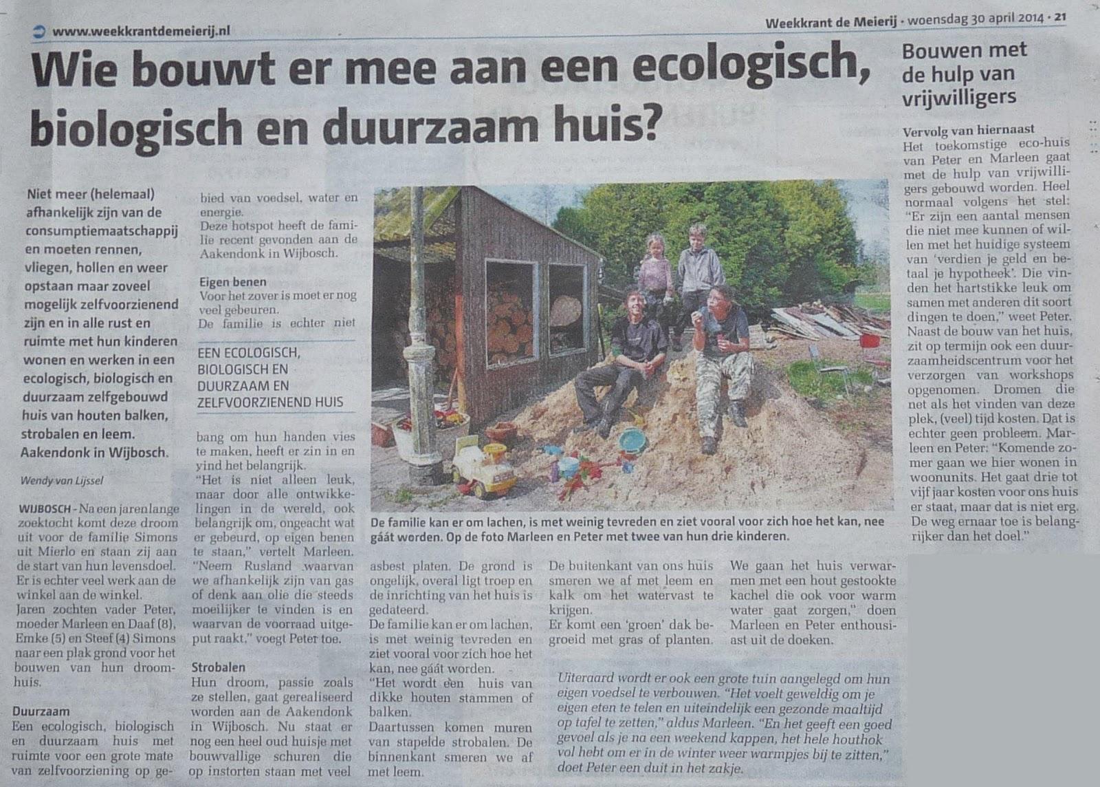 Artikel krant De Meierij